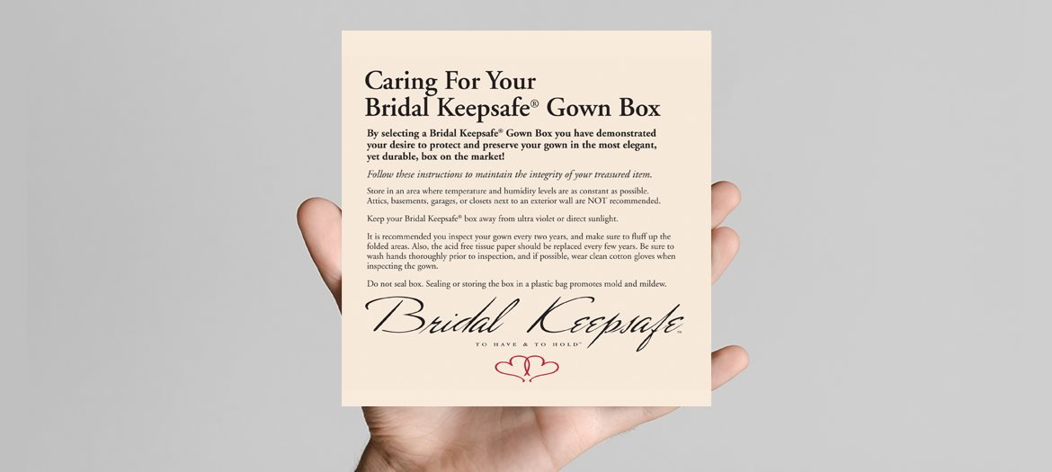 Bridal Keepsafe Wedding Gown Box Care Card