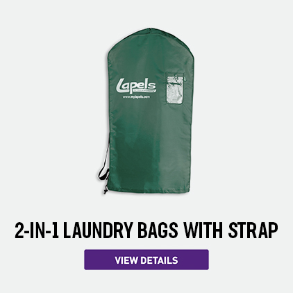 Lapels Green 2-in-1 Laundry Bag