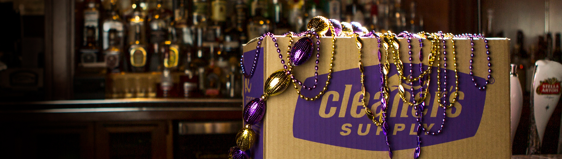 Cleaner's Supply New Orleans Mardi Gras Beads Shipping Box