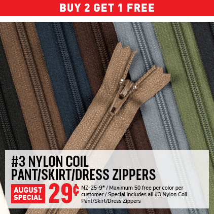 Cleaner's Supply #3 Nylon Coil Zippers Sale