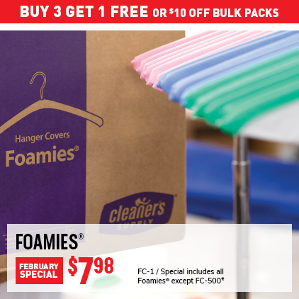 Buy 3 Get 1 Free or $10 Off Bulk Pack Foamies February Special. FC-1, Now $7.98. Special includes all Foamies except FC-500*.